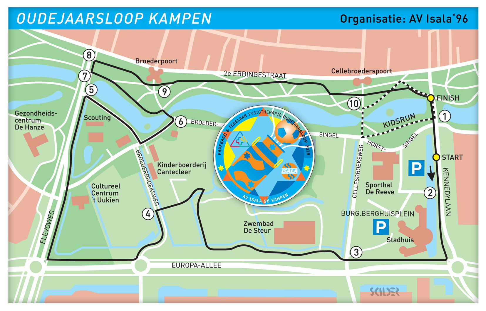 Kaart OJ Loop 2018 bovenlangs